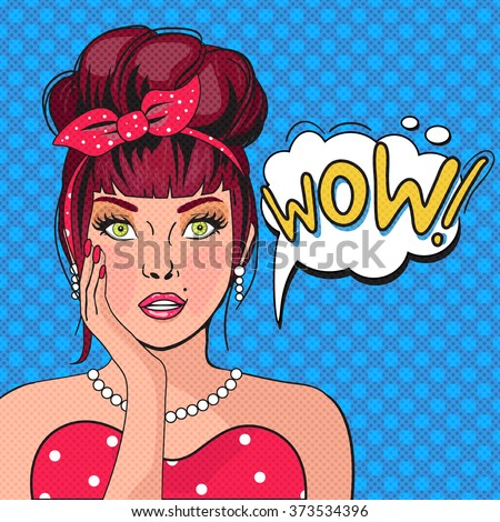 WOW bubble pop art.Surprised Woman With Open Mouth. Vintage comic poster with a girl. Pop Art illustration of a woman with the speech bubble. Party invitation. Birthday greeting card - stock vector