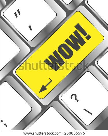wow button on computer keyboard key - stock vector