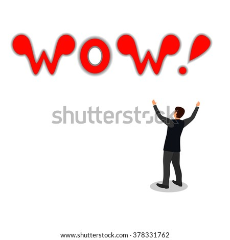 Wow - Comic book. man in wonder of what he saw and screams in delight wow! - stock vector