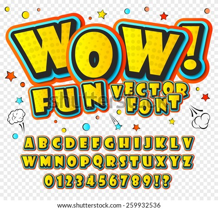 Wow. Creative high detail font for your design. 3D alphabet in the style of comics. Graphics pop - art on transparent background. Bright cartoon comic. Kids letters.  - stock vector