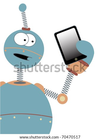 Wowing the tablet tech a cartoon robot holds a copy space friendly device in his amazed hand editable vector illustration