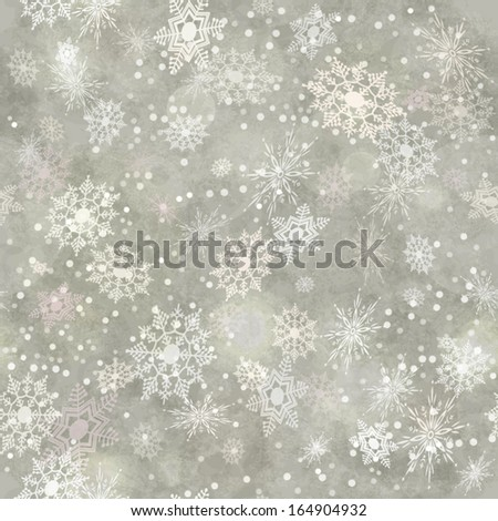 Wrapping Christmas vintage paper background with snowflake seamless pattern, subtle grunge texture, bokeh. Vector holiday winter retro wallpaper backdrop - stock vector