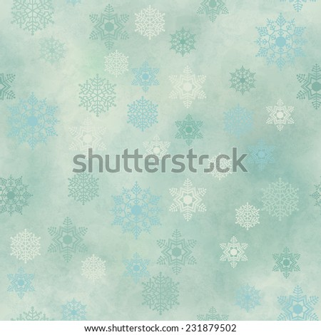 Wrapping Christmas vintage paper background with snowflake seamless pattern, subtle grunge texture. Vector holiday winter retro wallpaper backdrop - stock vector