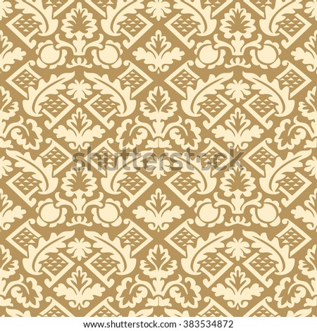 Wrapping floral damask seamless wallpaper for website tablecloth leaves repeating foliage western drapery triangle decor, flower organic luxury tiled old revival venetian fashion fabric elegant vector