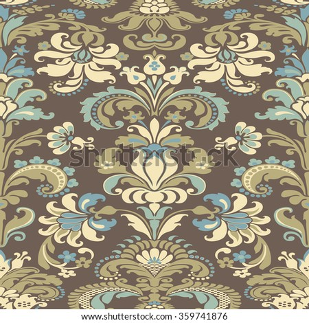 Wrapping wallpaper floral seamless tile for website, repeating foliage outline floral western damask flower organic vector, drapery luxury tiled decor old revival venetian fashion fabric elegant trend - stock vector
