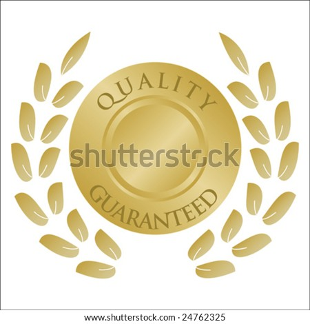 Wreath and medallion in gold with space to insert your own text - stock vector