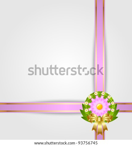 Wreath and ribbon spring decoration - stock vector