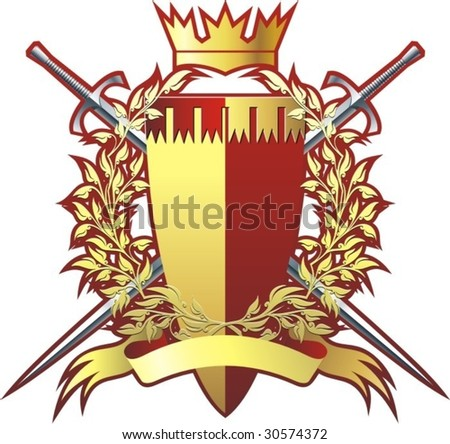 Wreath, crown, badge and swords. - stock vector