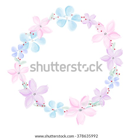 Wreath of abstract watercolor flowers - isolated on white background. Vector illustration. - stock vector