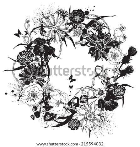Wreath of flowers black and white - stock vector
