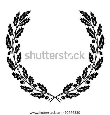 wreath oak leaves black silhouette stock vector royalty free