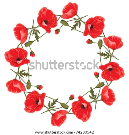 Wreath of red poppies - stock vector