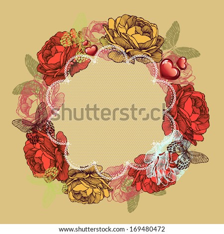 Wreath of roses and butterflies, valentines day. Vector illustration. - stock vector