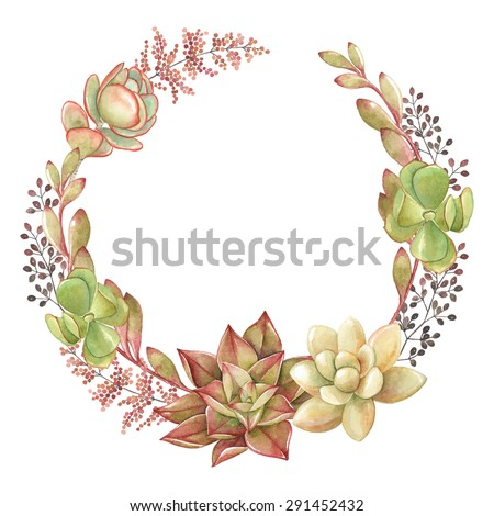 Wreath of succulents and kalanchoe, vector watercolor illustration. - stock vector