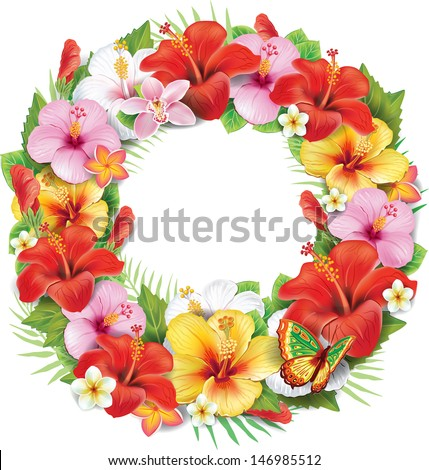 Wreath of tropical flower - stock vector