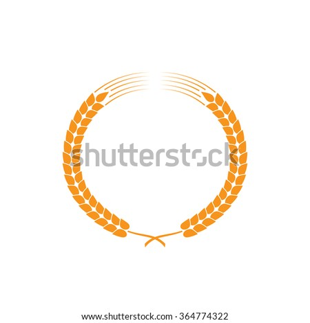 Wreath of wheat ears. Vector design elements
