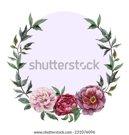wreath, peony, watercolor - stock vector
