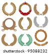 Wreath set (laurel, oak, wheat, palm and olive) - stock vector