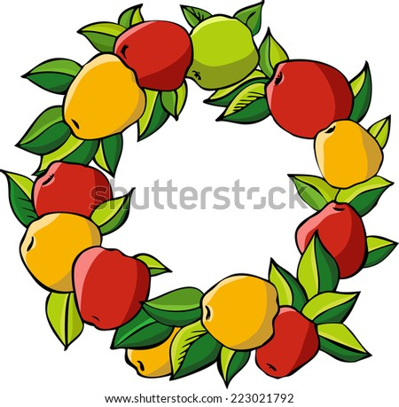wreath with red and yellow apples and green leaves, hand drawn vector illustration - stock vector