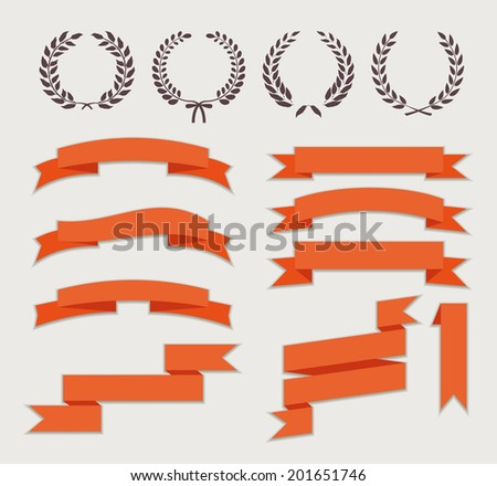 Wreaths and Ribbons for Banner Set in Flat Style Vector Illustration - stock vector