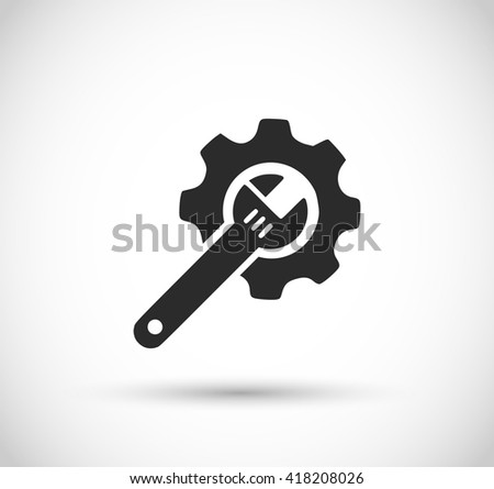 Wrench and gear icon vector  - stock vector