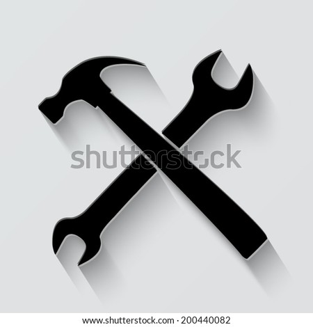 wrench and hammer icon - vector illustration with shadow on light background