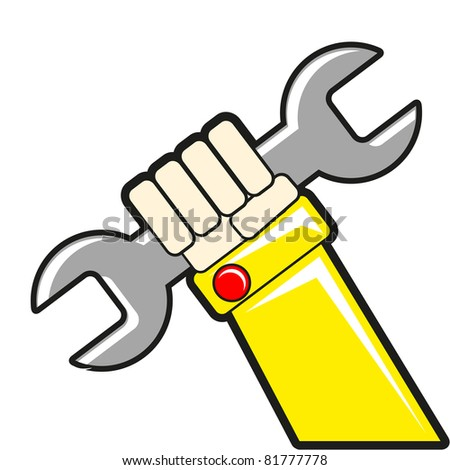 wrench in hand - stock vector