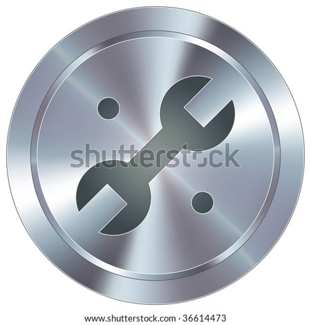 Wrench or repair icon on round stainless steel modern industrial button