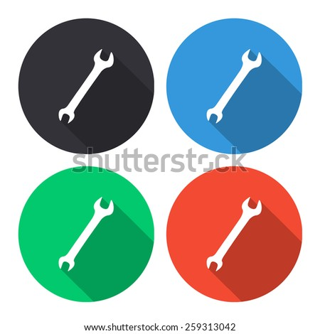 wrench vector icon - colored(gray, blue, green, red) round buttons with long shadow - stock vector