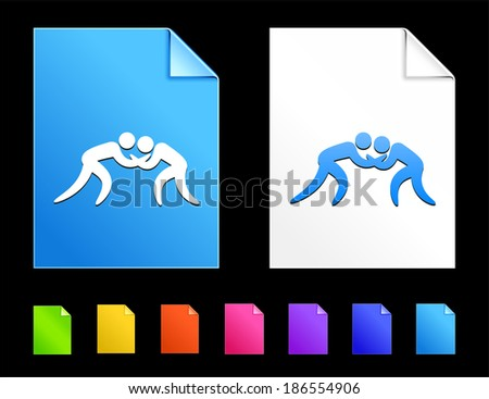 Wrestling Icons on Colorful Paper Document Collection - stock vector