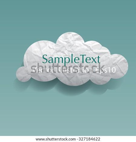 Wrinkled paper cloud vector illustration. - stock vector