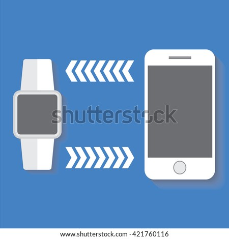 Wrist smart watch is connecting to smart phone, flat icon isolated on a blue background for your design, vector illustration - stock vector