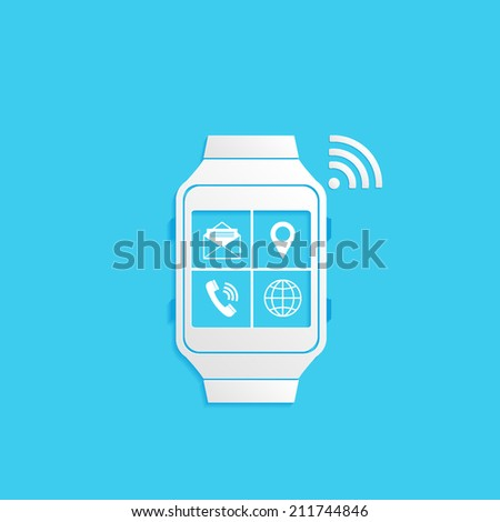 Wrist Watch Phone, flat icon isolated on a blue background for your design, vector illustration - stock vector