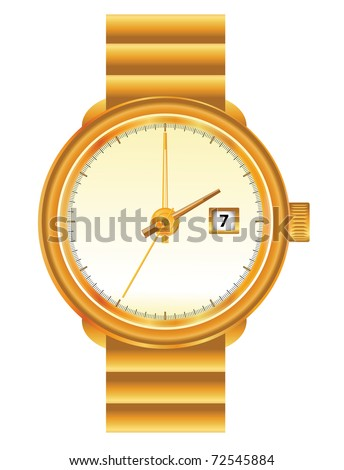 Wristwatch in golden frame on the white background - stock vector