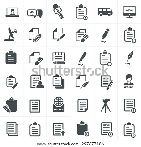 write and news icon set. - stock vector