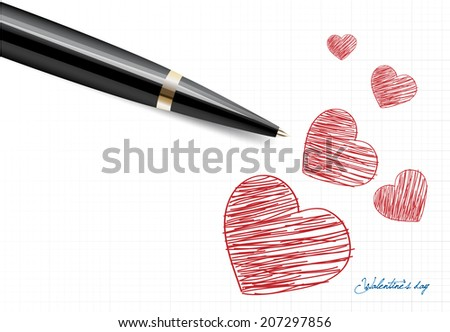 write heart valentine's day vector - stock vector