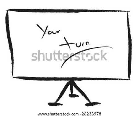 Write your business data on the flipchart - stock vector