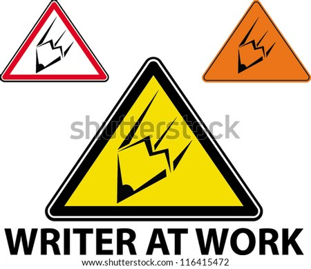 writer at work - stock vector