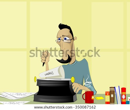 Writer at work. Handsome young writer sitting at the table and writing something.journalism, blog writing, editor, publisher illustration.  Vector  - stock vector