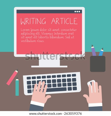 Writing an article for blog on computer. Vector illustration. Flat design.