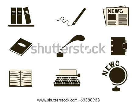 writing and news simple icon set - stock vector