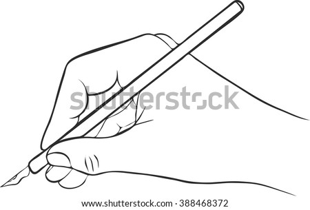 writing hand with ink pen, vector icon