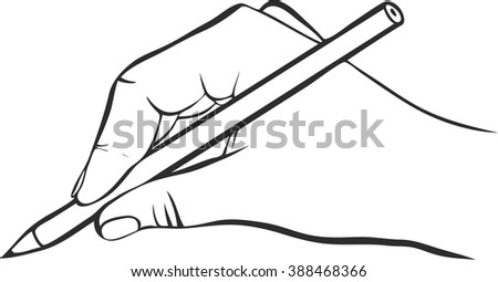 writing hand with pencil, vector icon