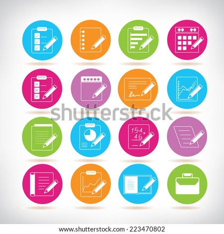writing icons, colorful circle buttons set - stock vector