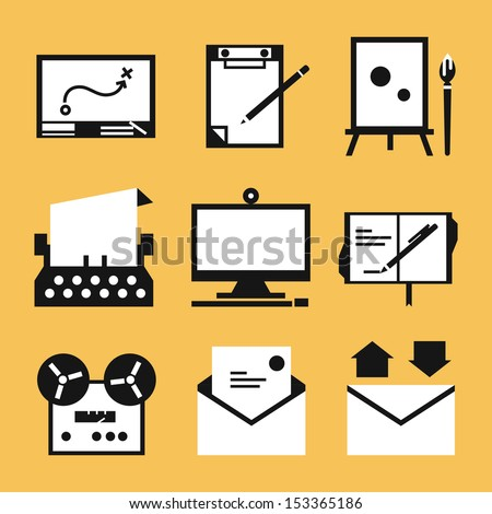 Writing icons, vector - stock vector