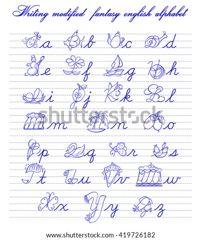 writing modified fantasy english alphabet vector illustration good for elementary school education - stock vector