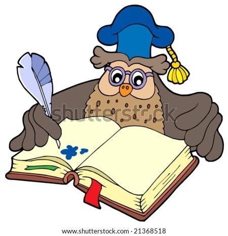 Writing owl teacher - vector illustration. - stock vector