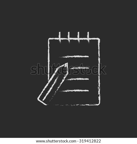 Writing pad and pen hand drawn in chalk on a blackboard vector white icon isolated on a black background. - stock vector