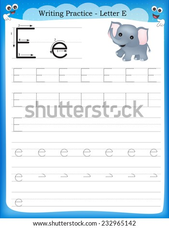 Writing practice letter E  printable worksheet for preschool / kindergarten kids to improve basic writing skills  - stock vector