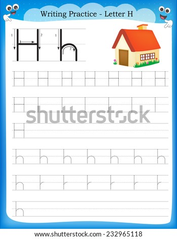 writing practice letter h printable worksheet stock vector 232965118 shutterstock. Black Bedroom Furniture Sets. Home Design Ideas